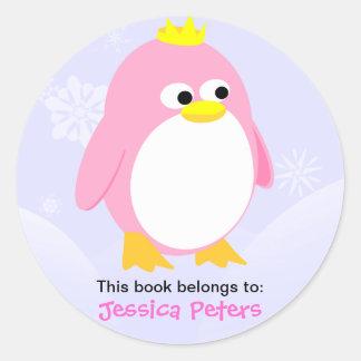 ピンクのペンギンの名前入りなラベル ラウンドシール