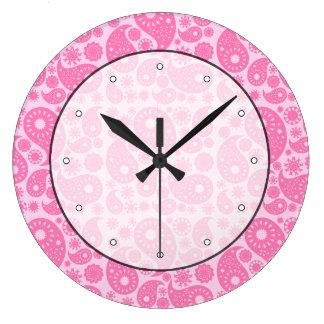 ピンクのペーズリー ラージ壁時計