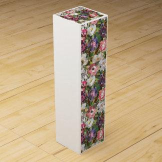 ピンクのペーパー花のコラージュのワイン用化粧箱 ワイン ギフト包装