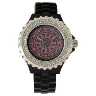 ピンクのボトルの木の曼荼羅の腕時計 腕時計