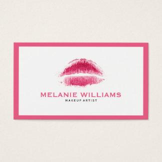 ピンクのボーダーとの白のメーキャップアーティストのピンクの唇 名刺