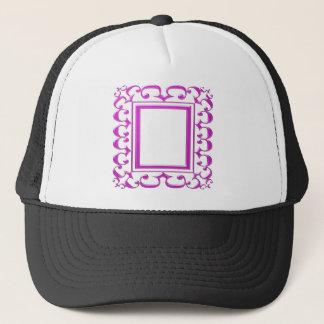 ピンクのボーダー装飾: 文字のイメージを加えて下さい キャップ