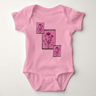 ピンクのポップアートの中世花の芸術 ベビーボディスーツ