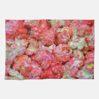 ピンクのポップコーン キッチンタオル