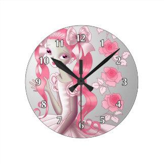 ピンクのポニーテールおよびバラを持つかわいい女の子 時計