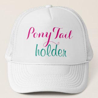 ピンクのポニーテールのホールダーのモダンな書道のかわいいおもしろい キャップ