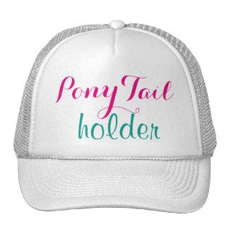ピンクのポニーテールのホールダーのモダンな書道のかわいいおもしろい メッシュキャップ