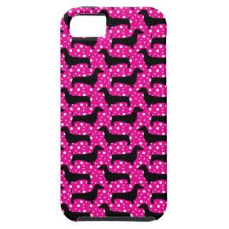 ピンクのポルカのダックスフント iPhone SE/5/5s ケース