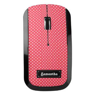 ピンクのポルカのハートパターン ワイヤレスマウス