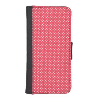 ピンクのポルカのハート iPhoneSE/5/5sウォレットケース