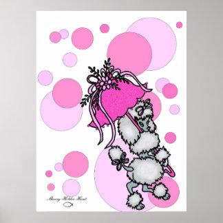 ピンクのポーク点のプードル ポスター