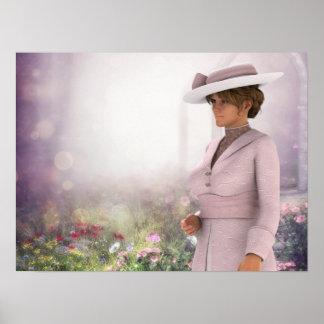 ピンクのポートレートのプリントでかわいらしい ポスター
