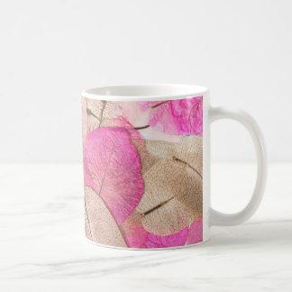 ピンクのマクロ葉 コーヒーマグカップ