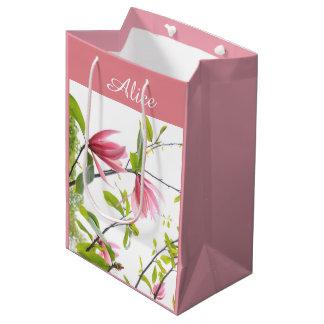 ピンクのマグノリアの名前入りなギフトバッグ ミディアムペーパーバッグ