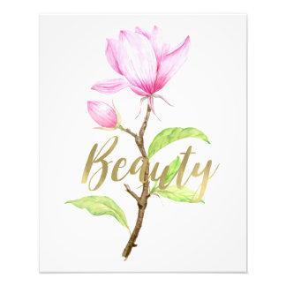 ピンクのマグノリアの花の美しい フォトプリント