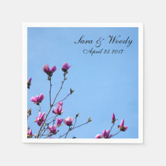 ピンクのマグノリアの開花 スタンダードカクテルナプキン