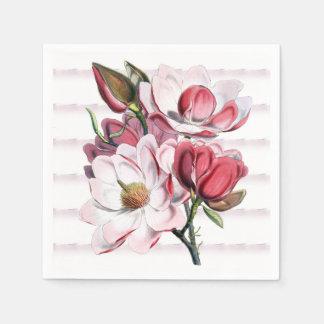 ピンクのマグノリアは花の紙ナプキン咲きます スタンダードカクテルナプキン