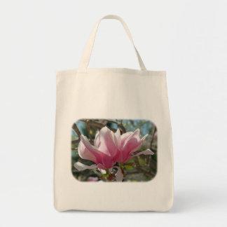ピンクのマグノリアは花の自然のトートバック開きます トートバッグ