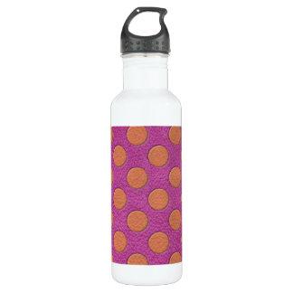 ピンクのマゼンタの革プリントのオレンジ水玉模様 ウォーターボトル