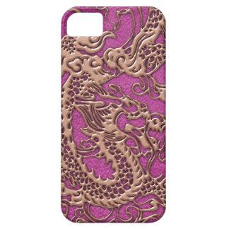ピンクのマゼンタの革質のばら色の金ゴールドのドラゴン iPhone SE/5/5s ケース