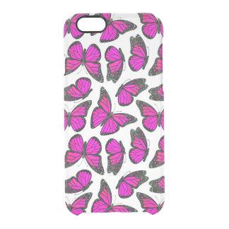 ピンクのマダラチョウパターン クリアiPhone 6/6Sケース
