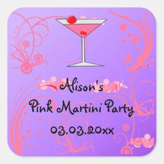 ピンクのマルティーニのパーティの招待状の好意のステッカー スクエアシール