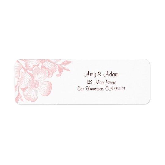 ピンクのミズキの花の宛名ラベル 返信用宛名ラベル