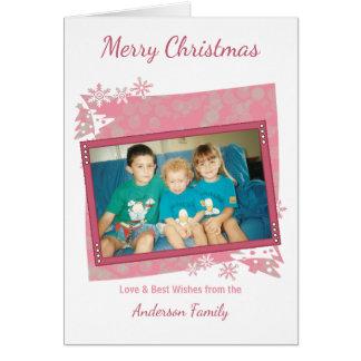 ピンクのメリークリスマスの写真 グリーティングカード