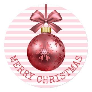 ピンクのメリークリスマス名前入りなカード カード