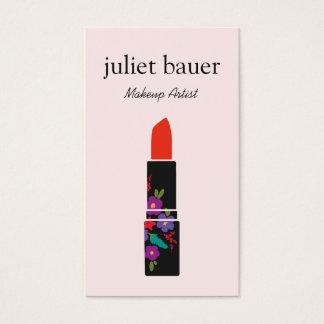 ピンクのメーキャップアーティストの花の口紅のロゴの美しい 名刺