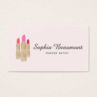ピンクのメーキャップアーティストの金ゴールドのスパンコールの口紅の美しい 名刺