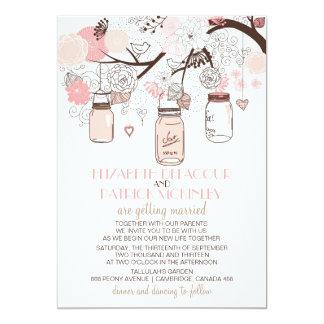 ピンクのメーソンジャーおよび愛鳥の結婚式招待状 カード