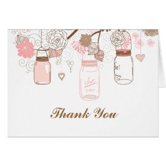 ピンクのメーソンジャーおよび愛鳥の郵便料金 カード