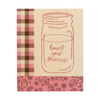 ピンクのメーソンジャー; あなたの恵みを数えて下さい ウッドウォールアート