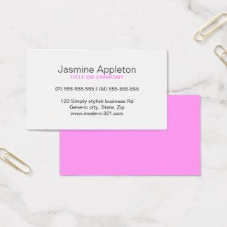 ピンクのモダンで一般的でシンプルでエレガントな個人的 名刺