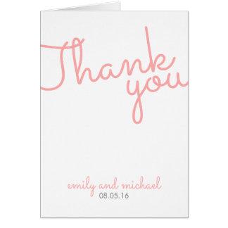 ピンクのモダンなタイポグラフィの結婚は感謝していしています カード