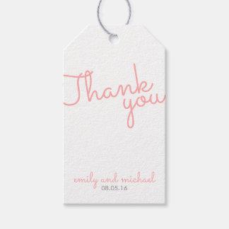 ピンクのモダンなタイポグラフィの結婚式の引き出物 ギフトタグ