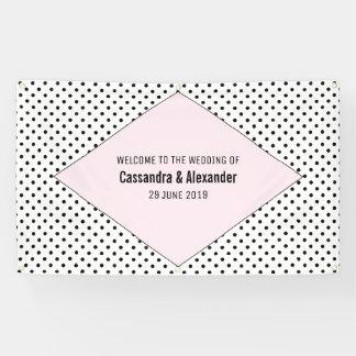 ピンクのモダンな水玉模様の結婚 横断幕