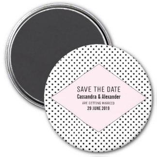 ピンクのモダンな水玉模様は日付を救います マグネット