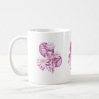 ピンクのモノクロ花 コーヒーマグカップ