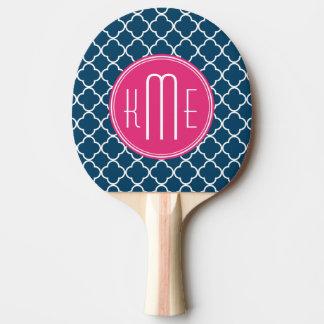 ピンクのモノグラムが付いているエレガントな濃紺Quatrefoil 卓球ラケット