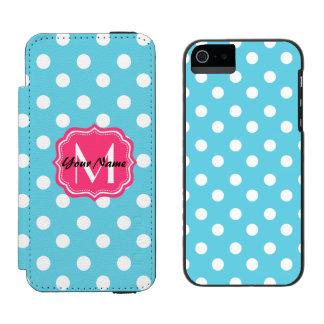 ピンクのモノグラムが付いている青および白い水玉模様 INCIPIO WATSON™ iPhone 5 財布 ケース