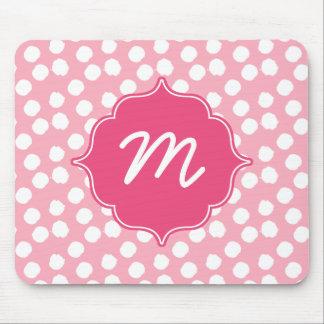 ピンクのモノグラムの大きい点のクローバー マウスパッド