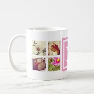 ピンクのモノグラムのInstagramの写真のコラージュのマグ コーヒーマグカップ