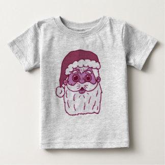ピンクのモノトーンのなサンタクロース ベビーTシャツ