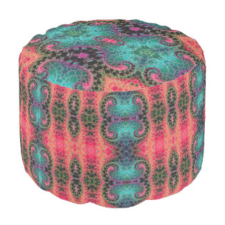 ピンクのモモのターコイズのフラクタルの抽象芸術 プーフ
