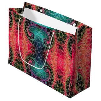 ピンクのモモのターコイズのフラクタルの抽象芸術 ラージペーパーバッグ