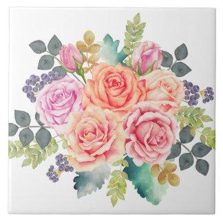 ピンクのモモのバラの美しい水彩画の花束 タイル