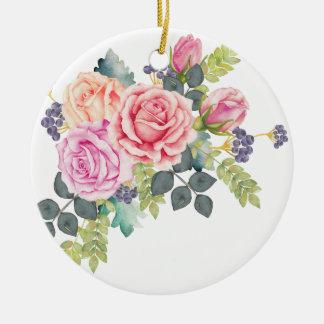 ピンクのモモのバラ2の美しい水彩画の花束 セラミックオーナメント