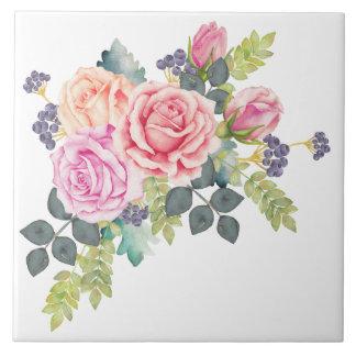 ピンクのモモのバラ2の美しい水彩画の花束 タイル